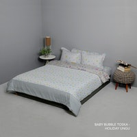 King Rabbit Set Bed Cover & Sprei Sarung Bantal Queen Motif Baby Bubble - Toska Uk 160x200x40 cm