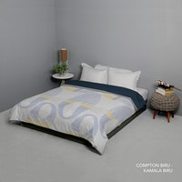King Rabbit Bed Cover Double Motif Compton - Biru Uk 230x230 cm