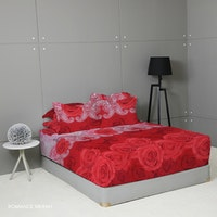 King Rabbit Set Sprei Sarung Bantal Queen Motif Romance - Merah Uk 160x200x40 cm