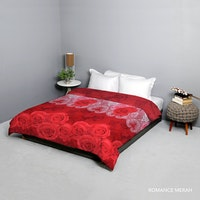 King Rabbit Bed Cover Double Motif Romance - Merah Uk 230x230 cm