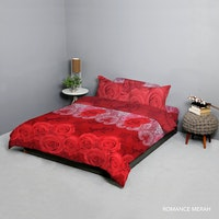 King Rabbit Set Bed Cover & Sprei Sarung Bantal Queen Motif Romance - Merah Uk 160x200x40 cm