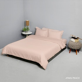 King Rabbit Set Bed Cover & Sprei Sarung Bantal Queen Motif Jitaku - Peach Uk 160x200x40 cm