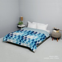 King Rabbit Bed Cover Double Motif Brady - Biru Uk 230x230 cm