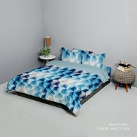 King Rabbit Set Bed Cover & Sprei Sarung Bantal Queen Motif Brady - Biru Uk 160x200x40 cm