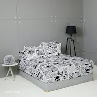 King Rabbit Set Sprei Sarung Bantal Queen Motif Europe - Hitam Uk 160x200x40 cm