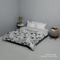 King Rabbit Bed Cover Single Motif Europe - Hitam Uk 140x230 cm