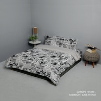 King Rabbit Set Bed Cover & Sprei Sarung Bantal Queen Motif Europe - Hitam Uk 160x200x40 cm