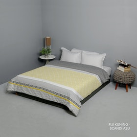 King Rabbit Bed Cover Single Motif Fiji - Kuning Uk 140x230 cm