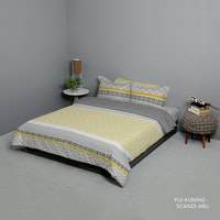 King Rabbit Set Bed Cover & Sprei Sarung Bantal Queen Motif Fiji - Kuning Uk 160x200x40 cm