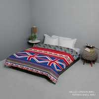 King Rabbit Bed Cover Double Motif Hello London - Biru Uk 230x230 cm
