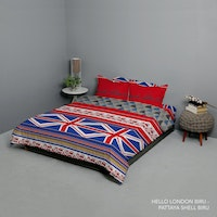 King Rabbit Set Bed Cover & Sprei Sarung Bantal Queen Motif Hello London - Biru Uk 160x200x40 cm