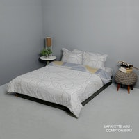 King Rabbit Set Bed Cover & Sprei Sarung Bantal Queen Motif Lafayette - Abu Uk 160x200x40 cm