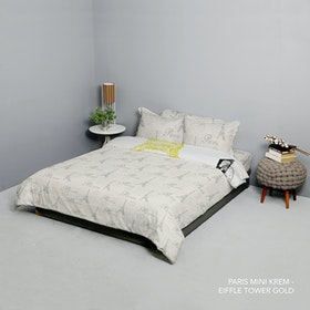 King Rabbit Set Bed Cover & Sprei Sarung Bantal Queen Motif Paris Mini - Krem Uk 160x200x40 cm