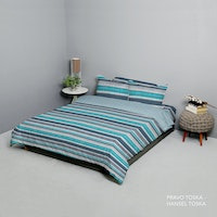 King Rabbit Set Bed Cover & Sprei Sarung Bantal Queen Motif Pravo - Toska Uk 160x200x40 cm