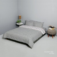 King Rabbit Set Bed Cover & Sprei Sarung Bantal King Motif Scandi - Abu Uk 180x200x40 cm