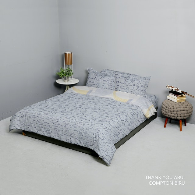 King Rabbit Set Bed Cover & Sprei Sarung Bantal Queen Motif Thank U - Abu Uk 160x200x40 cm