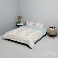 King Rabbit Set Bed Cover & Sprei Sarung Bantal King Motif Tivoli Mini - Coklat Uk 180x200x40 cm