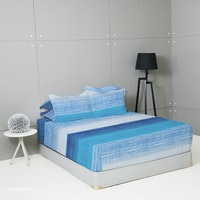 King Rabbit Set Sprei Sarung Bantal Full Motif Waves - Biru Uk 120x200x40 cm