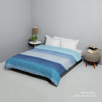 King Rabbit Bed Cover Double Motif Waves - Biru Uk 230x230 cm