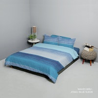 King Rabbit Set Bed Cover & Sprei Sarung Bantal Queen Motif Waves - Biru Uk 160x200x40 cm