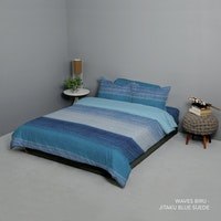 King Rabbit Set Bed Cover & Sprei Sarung Bantal King Motif Waves - Biru Uk 180x200x40 cm