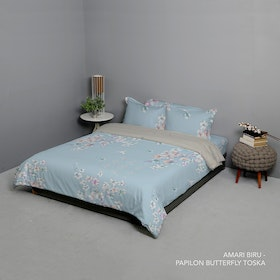 King Rabbit Set Bed Cover & Sprei Sarung Bantal Queen Motif Amari - Biru Uk 160x200x40 cm