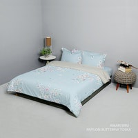 King Rabbit Set Bed Cover & Sprei Sarung Bantal King Motif Amari - Biru Uk 180x200x40 cm