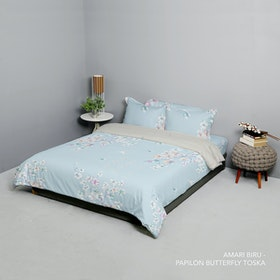 King Rabbit Set Bed Cover & Sprei Sarung Bantal Extra King Motif Amari - Biru Uk 200x200x40 cm