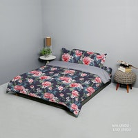 King Rabbit Set Bed Cover & Sprei Sarung Bantal Queen Motif Ava - Ungu Uk 160x200x40 cm