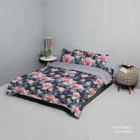 King Rabbit Set Bed Cover & Sprei Sarung Bantal King Motif Ava - Ungu Uk 180x200x40 cm