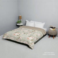 King Rabbit King Rabbit Bed Cover Double Motif Astoria - Mint Uk 230x230 cm