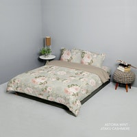 King Rabbit King Rabbit Set Bed Cover & Sprei Sarung Bantal Queen Motif Astoria - Mint Uk 160x200x40 cm