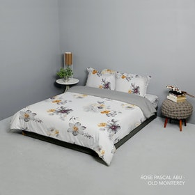 King Rabbit Set Bed Cover & Sprei Sarung Bantal Queen Motif Rose Pascal - Abu Uk 160x200x40 cm