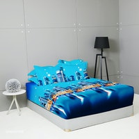 King Rabbit Set Sprei Sarung Bantal King Motif Singapore -Biru Uk 180x200x40 cm