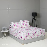 King Rabbit Set Sprei Sarung Bantal Queen Motif Ayumi - Pink Uk 160x200x40 cm