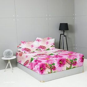 King Rabbit Set Sprei Sarung Bantal Queen Motif Clara - Pink Uk 160x200x40 cm