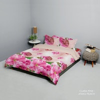 King Rabbit Bed Cover Double Motif Clara - Pink Uk 230x230 cm