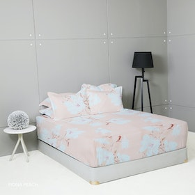 King Rabbit Set Sprei Sarung Bantal Full Motif Fiona - Peach Uk 120x200x40 cm