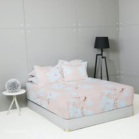 King Rabbit Set Sprei Sarung Bantal King Motif Fiona - Peach Uk 180x200x40 cm