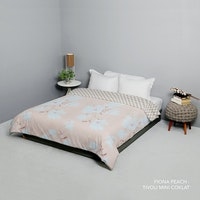 King Rabbit Bed Cover Double Motif Fiona - Peach Uk 230x230 cm