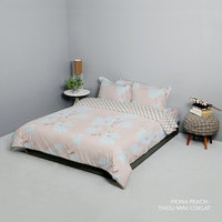 King Rabbit Set Bed Cover & Sprei Sarung Bantal Extra King Motif Fiona - Peach Uk 200x200x40 cm