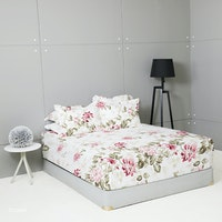 King Rabbit Set Sprei Sarung Bantal King Motif Floria - Marun Uk 180x200x40 cm