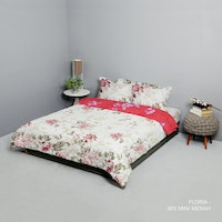King Rabbit Set Bed Cover & Sprei Sarung Bantal Queen Motif Floria - Marun Uk 160x200x40 cm