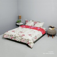King Rabbit Set Bed Cover & Sprei Sarung Bantal Extra King Motif Floria - Marun Uk 200x200x40 cm