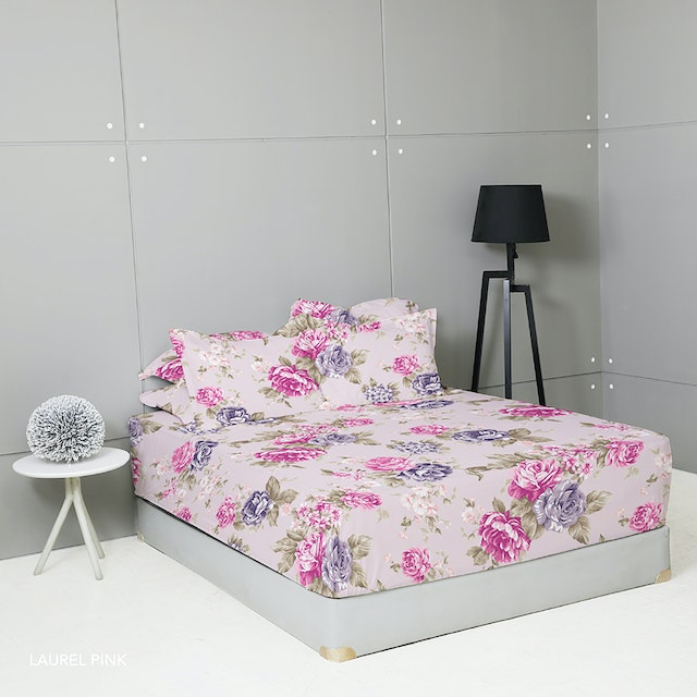 King Rabbit Set Sprei Sarung Bantal Queen Motif Laurel Pinik Uk 160x200x40 cm