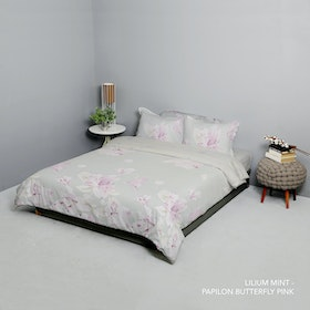King Rabbit Set Bed Cover & Sprei Sarung Bantal Queen Motif Lilium Mint Uk 160x200x40 cm