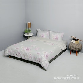 King Rabbit Set Bed Cover & Sprei Sarung Bantal King Motif Lilium Mint Uk 180x200x40 cm