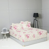King Rabbit Set Sprei Sarung Bantal Queen Motif Rose Opera Pink Uk 160x200x40 cm