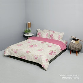 King Rabbit Set Bed Cover & Sprei Sarung Bantal Queen Motif Rose Opera Pink Uk 160x200x40 cm