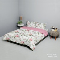 King Rabbit Set Bed Cover & Sprei Sarung Bantal Queen Motif Rosella Pink Uk 160x200x40 cm
